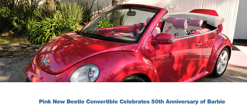 Vw Creates Life Size Pink New Beetle Convertible For Barbie 50th Anniversary
