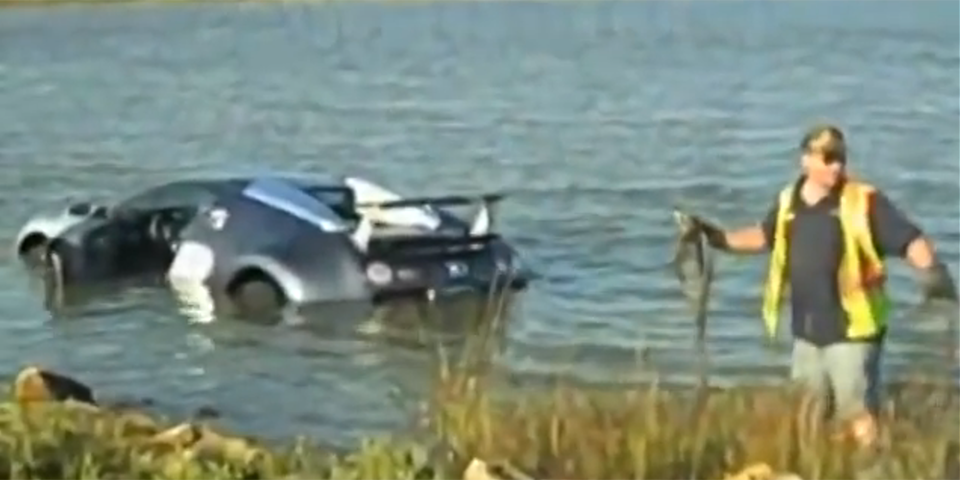 Bugatti Veyron Lake Crash